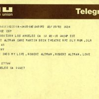 Telegram from Lily Tomlin to Robert Altman, 1982.