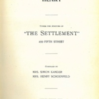 """The Way to a Man's Heart, """"The Settlement"""" Cook Book"""
