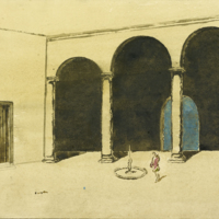 [Stage design for Othello in pencil and watercolor]