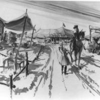 Photograph of set renderings for Buffalo Bill & the Indians
