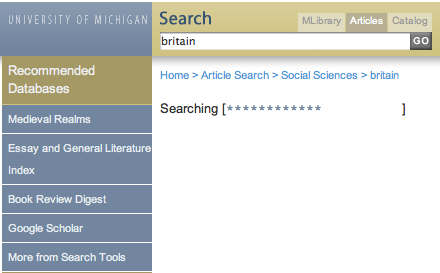 Recommended databases in articles search results