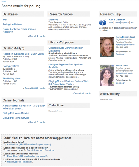 Screenshot of updated University of Michigan Library search results