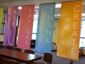 Ask, Explore, Think, Create banners