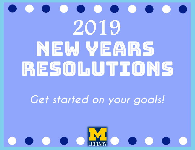 2019 New Years Resolutions Book Display Sign