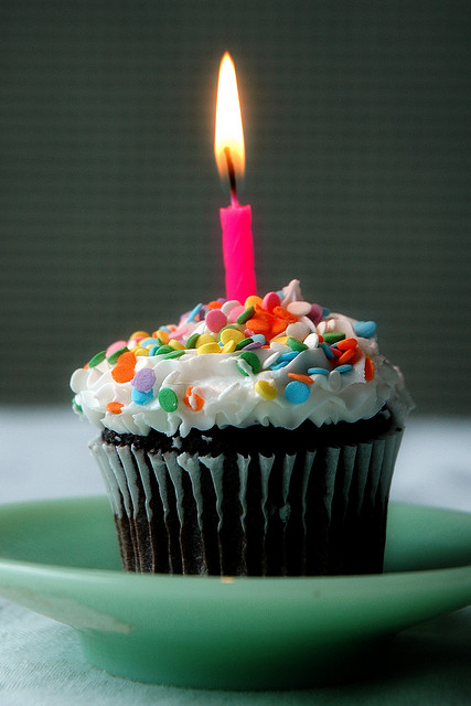 Photo of a cupcake with a candle in it.