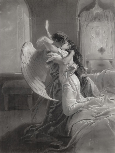 black and white painting of a male angel and human girl kissing