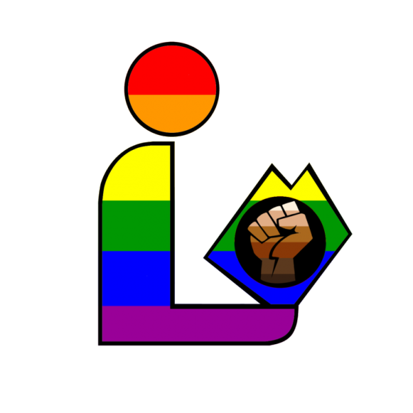 Icon of a person reading. It's colored in with the rainbow and the book has the Black Lives Matter symbol on it.