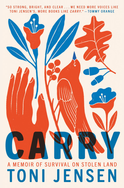 Block print in blue and red with bird, hand, flowers, and leaves