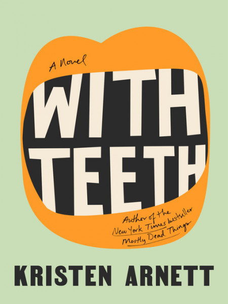 Book cover illustration of an open mouth with orange lips against a light green background. In place of teeth in the mouth is the book title