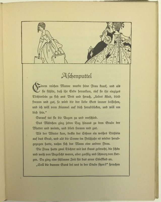 First page of Aschenputtel, with black and white illustration of Cinderella serving her stepsisters above the title