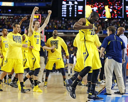 Digital photograph of Michigan mens' basketball team