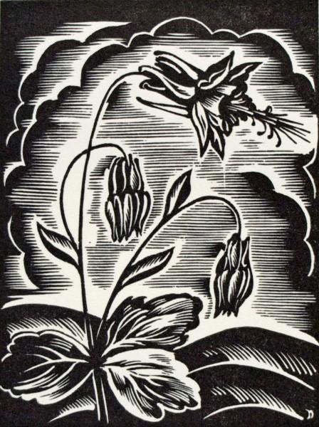 John DePol's black-and-white woodblock print of Columbine flowers.