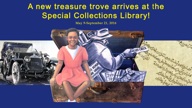 Poster for the exhibit,  for A New Treasure Trove Arrives at the Special Collections Library