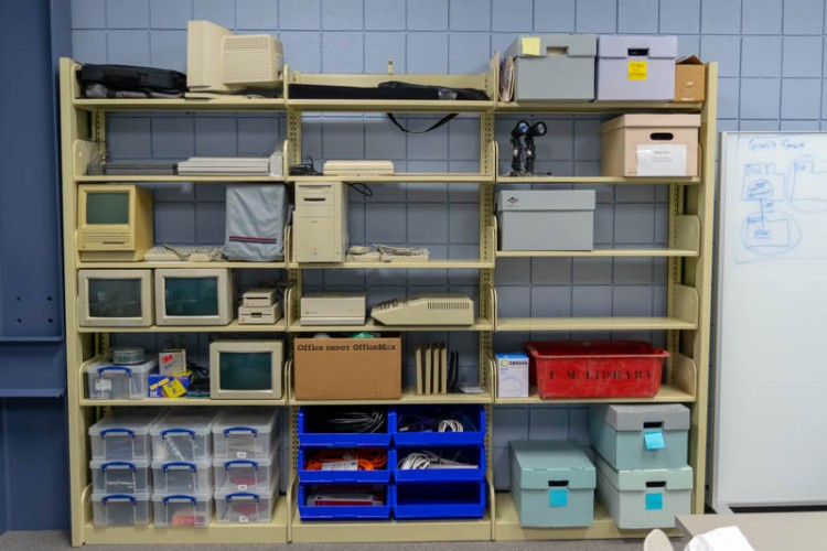 Shelving unit of vintage equipment