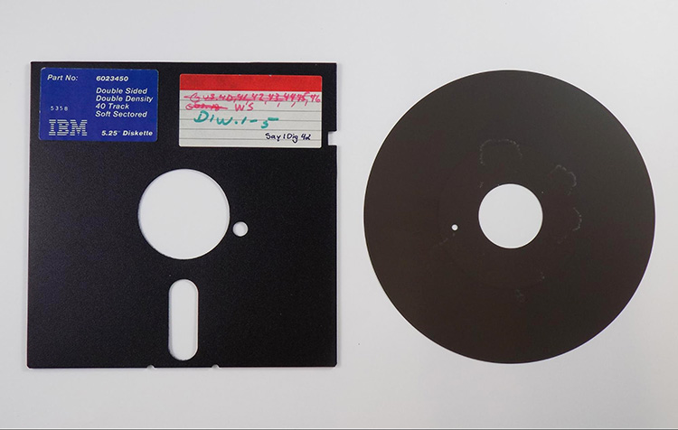 The magnetic disk removed from the floppy's cover.