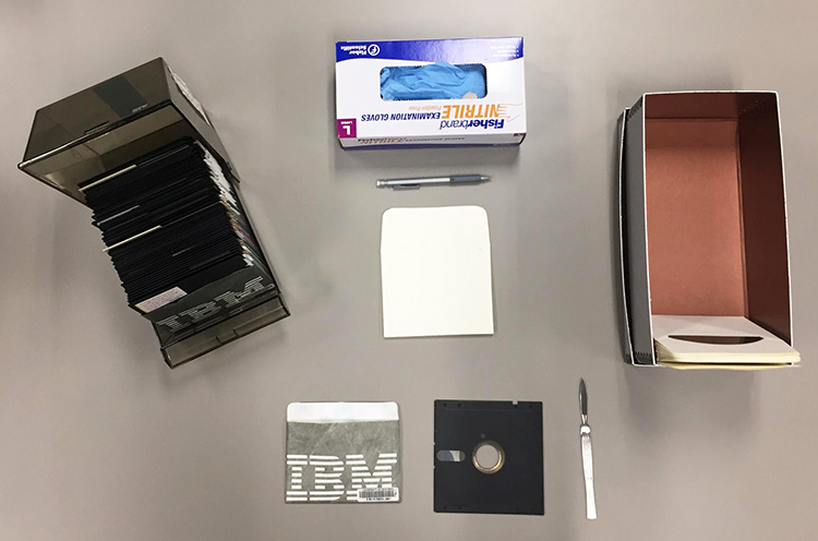 Tools used to remove the floppy's inner disk from its cover