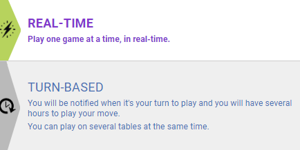 Real time or turn based options