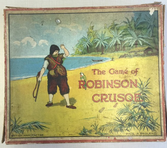 Box cover of Robinson Crusoe game from England