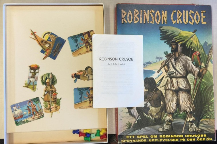 Box, game pieces, direction packet for Robinson Crusoe board game produced in Sweden