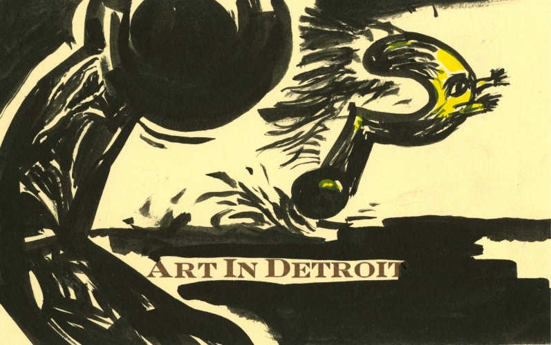 "original postcard reading ""Art in Detroit"" with an illustration of a running question mark"