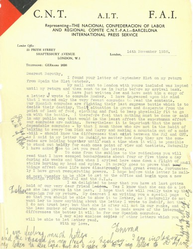 Original letter from Emma Goldman to Dorothy Rogers