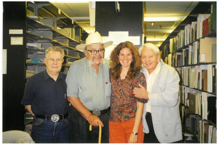 Photograph of Federico Arcos, Carlos Cortez, Julie Herrada, and Ed Weber at the Labadie Collection