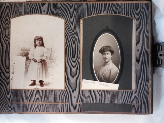 Portraits of Charlotte Labadie from a century-old photo album.