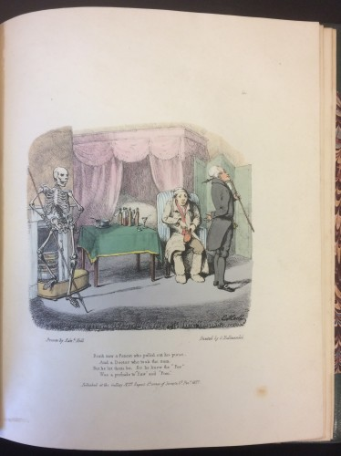 "Colored Lithography. Edward Hull. Illustrations of Death's Ramble, from the ""Whims & Oddities"" of T. Hood esqr. (London: Published at the Gallery, printed by C. Hullmandel, 1827)"
