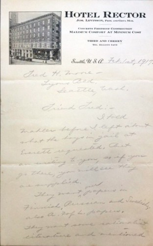 Handwritten letter about prisoners' requests