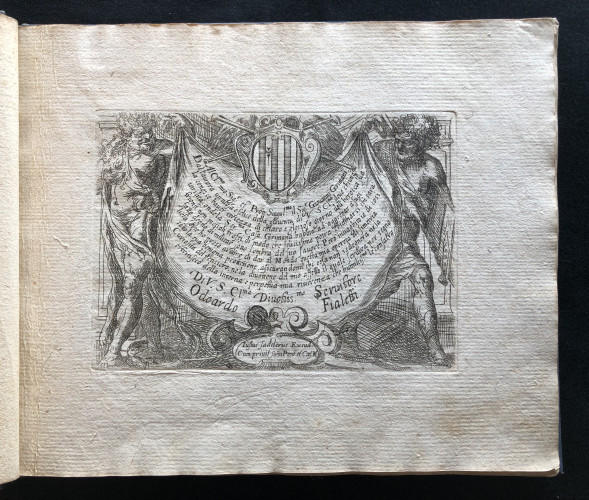 Dedication engraving from Odoardo Fialetti.  Il vero modo et ordine per dissegnar tutte le parti et membra del corpo humano (The Accurate Technique and Order to Draw the Parts and Members of the Human Body) Venice: Remondini, ca. 1700s