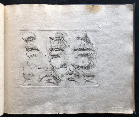 Engraving showing the damaged plate from Odoardo Fialetti. Il vero modo et ordine per dissegnar tutte le parti et membra del corpo humano (The Accurate Technique and Order to Draw the Parts and Members of the Human Body) Venice: Remondini, ca. 1700s