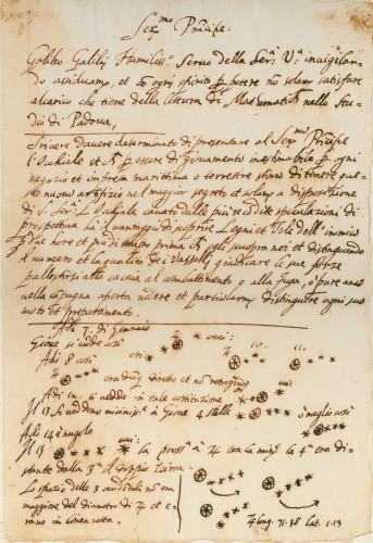 Manuscript on paper: 305 mm x 205 mm. First Part: Draft of a letter to the Doge of Venice, Leonardo Donato. August 1609; Second Part: Annotations based on daily observations of the moons of Jupiter. January 1610