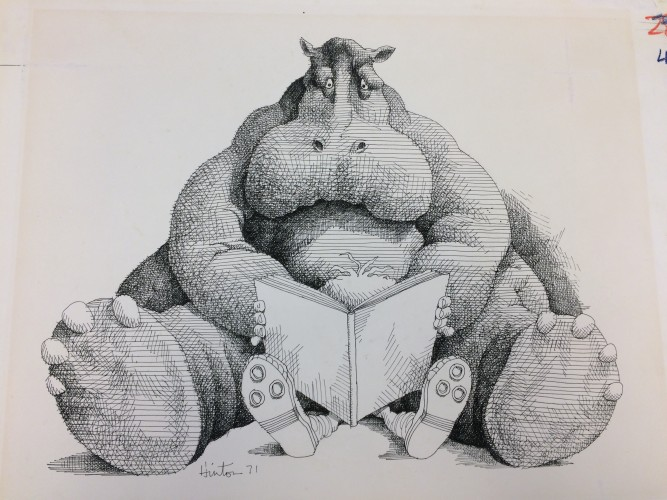 Drawing for a hippo and child reading a book