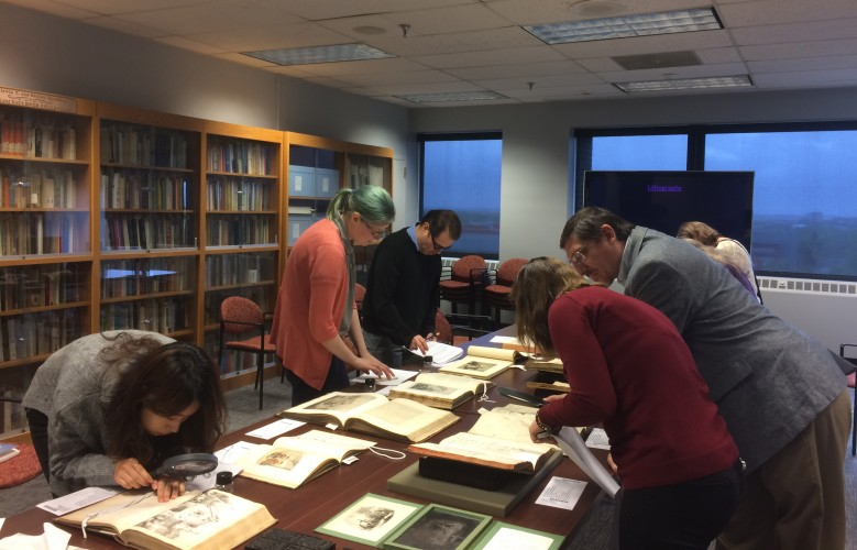 "Participants in the workshop, ""Identifying Early Illustration Processes in Rare Books - An Introduction""."