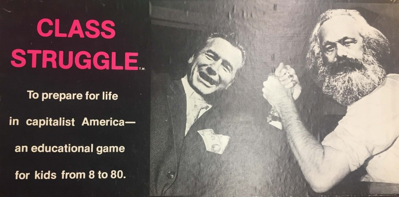 "front of box for game Glass Struggle--""to prepare for life in capitalist America--an educational game"""