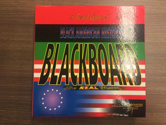 "front cover of Blackboard, ""a board game of Black American history: The REAL story"""