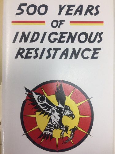 cover of 500 Years of Indigenous Resistance, featuring a bird flying with broken chains on its feet