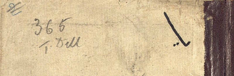 View of penciled mark on upper outer corner of paper manuscript folio