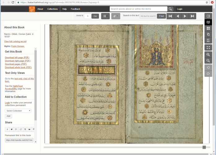 View of a double-page image of Islamic Manuscript 414 in the Hathi Trust Digital Library