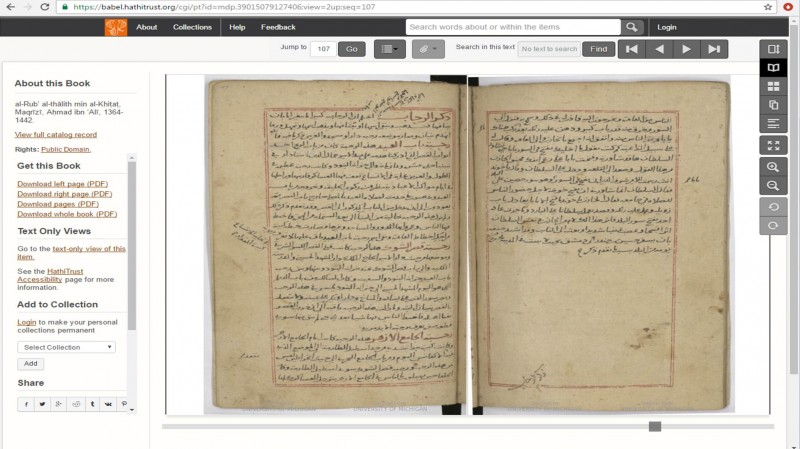View of Islamic Manuscript 605 in the HathiTrust Digital Library