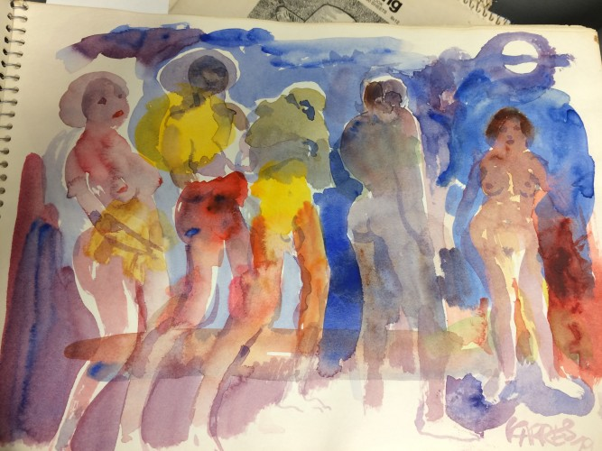 Watercolor painting of people by Sam Karres