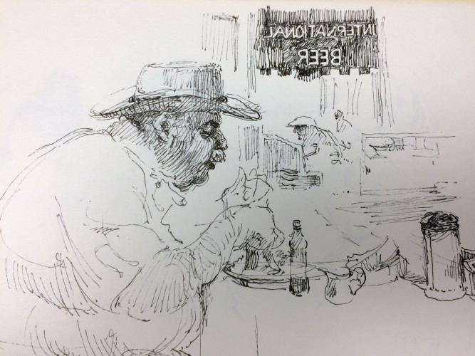Drawing of man eating in restaurant