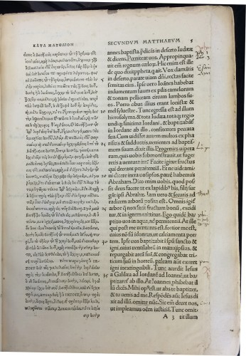 Our copy has been fully annotated by a sixteenth-century reader, as shown in this page of  the second part  containing the Commentaries in Novum Instrumentum omne, diligenter ab Erasmo Roterodamo recognitum & emendatum. Basel: Johann Froben, 1516