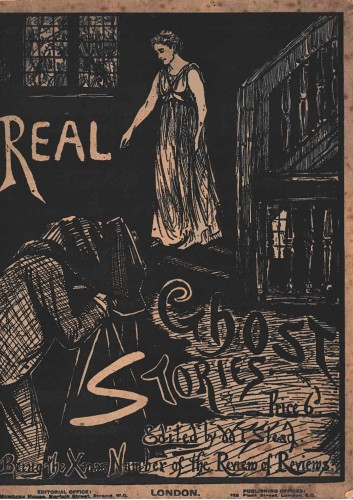 front cover  of Real Ghost Stories, featuring an illustration of a photographer trying to capture a spirit on film