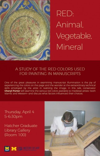 event poster with image of manuscript illumination and conservator working