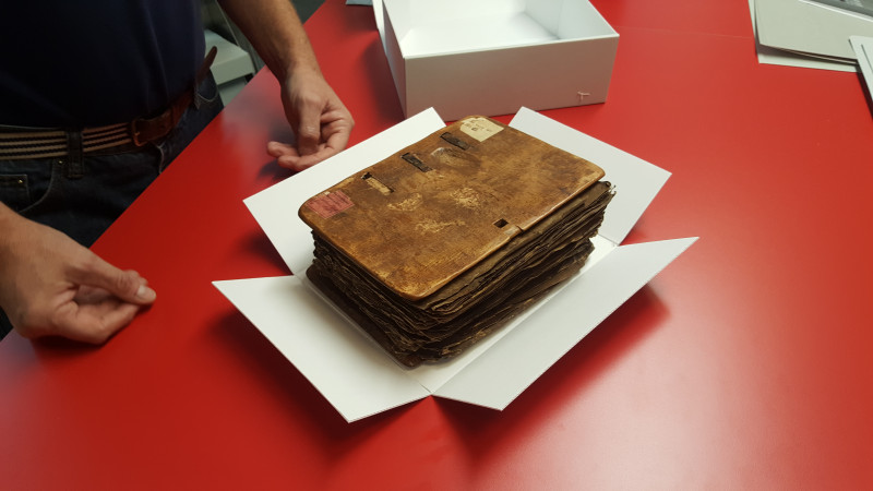 Example of the rehousing of a manuscript at the National Library of Sweden (Kungliga Biblioteket). Photo by Kyle Clark