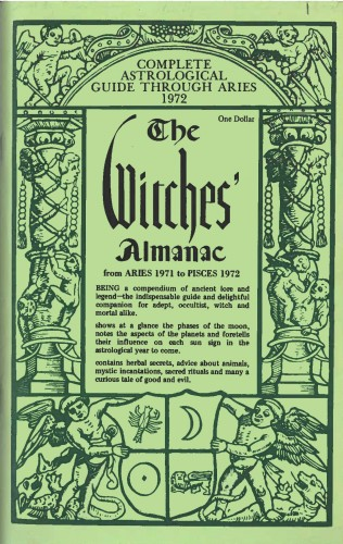 "front cover of Witches' Almanac describing the volume as ""the indispensible guide and delightful companion for adept, occultist, witch and mortal alike"""