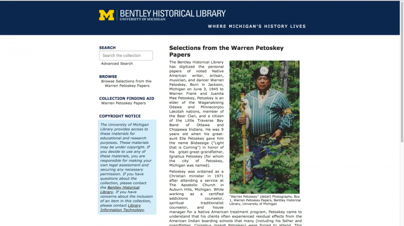 Collection image of Digitized Selections from the Warren Petoskey Papers, 1873-2016