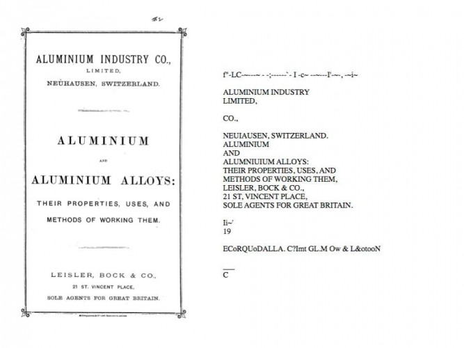 Side-by-side comparison of title page and OCR for the English language pamphlet 'Aluminium and Aluminium Allows: Their Properties, Uses, and Methods of Working Them'