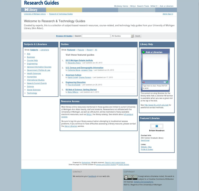LibGuides website after the interface refresh.
